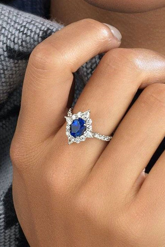 engagement ring trends sapphire diamond halo floral style white gold #engagementrings