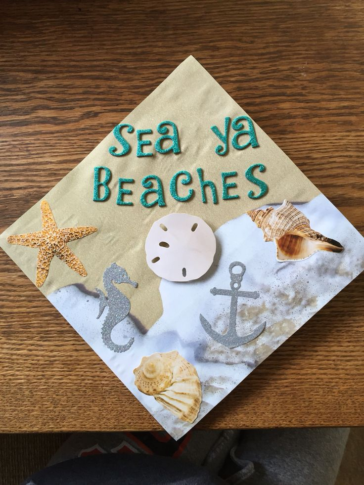Graduation cap - inspired by the ocean and beaches in Santa Cruz Ca, and all of my hard work at SJSU ⛱