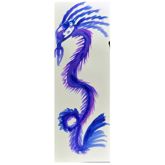 Dragon Drawing in purple ink Zen Art Banner Chinese Year of the Dragon 2012  fionazakka at Etsy