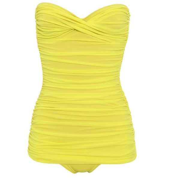NORMA KAMALI 'Walter Mio' ruched bandeau swimsuit (840 BRL) ❤ liked on Polyvore featuring swimwear, one-piece swimsuits, swimsuits, bathing suits, swim, bikini, strapless swimsuit, shirred one piece swimsuit, bandeau one piece swimsuit and yellow one piece swimsuit