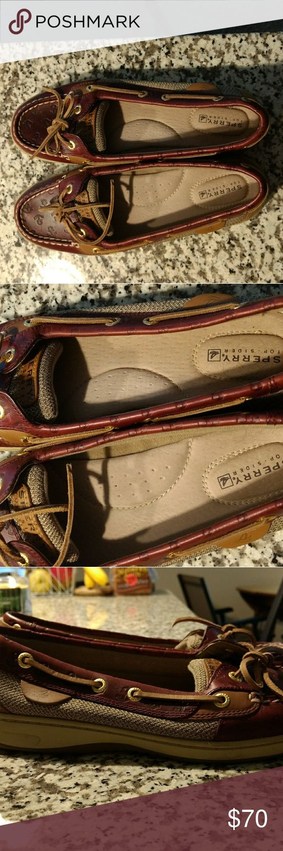 Anchor Sperry Boat Shoes Adorable boat shoes with anchors imprinted on them!! Excellent quality, only worn twice. Classic Sperry look.   Size 8M Sperry Shoes Flats & Loafers