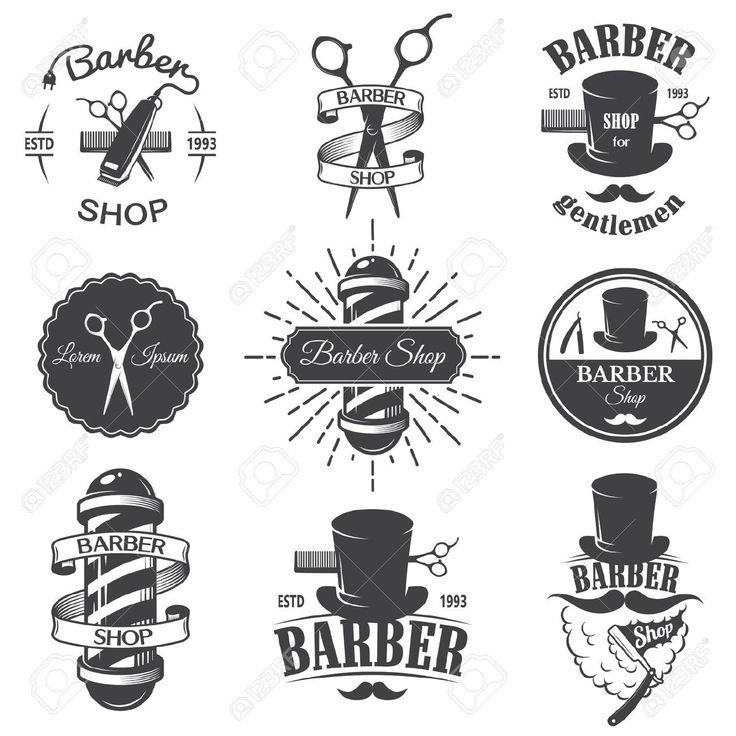 Set Of Vintage Barber Shop Emblems, Label, Badges And Designed ...