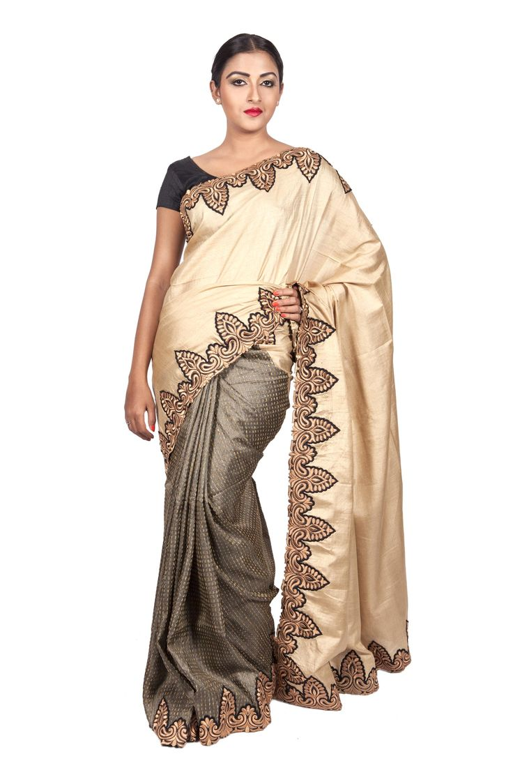 - CORPORATE CULTURE - Corporate Party Wear Half n Half Tussar Off-White & Olive Green Kantha Weave with Embroidered Border.  Now on SALE at 20% OFF. Shop Now! #ThreadTurner #DesignerSaree