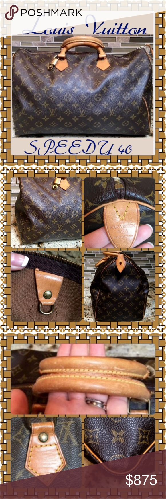 GORGEOUS AUTHENTIC LOUIS VUITTON SPEEDY 40 STUNNING AUTHENTIC LOUIS VUITTON SPEEDY 40 GREAT CONDITION!!! SEE PICTURES IN BOTH LISTINGS PLEASE COMES WITH LOCK, KEY, AND BASE SHARPER. Louis Vuitton Bags Satchels
