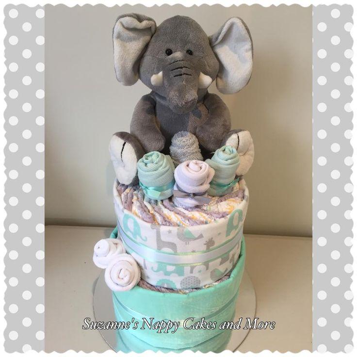 Nappy Cake Elephant, Nappy Cake Neutral, Nappy Cake Mint, Nappy Cake, Diaper Cak…