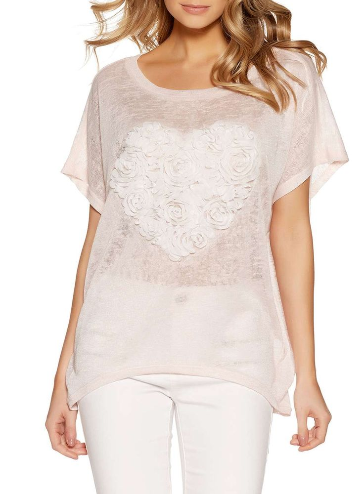 *Quiz Pink And Cream Heart Batwing Top