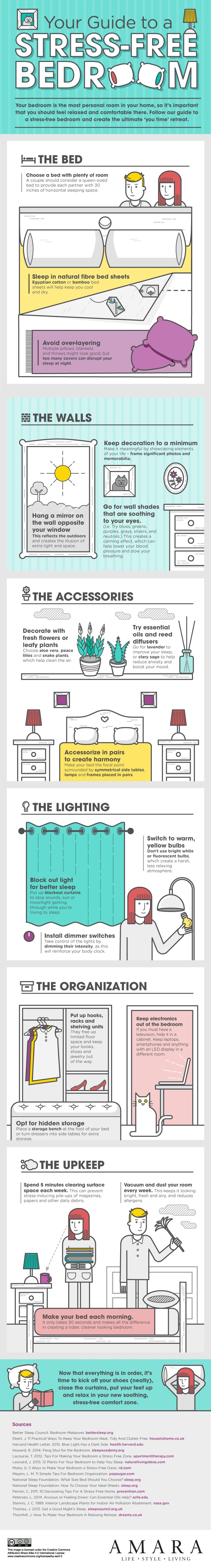 Your Guide to a Stress-free Bedroom #Infographic #Health #Stress