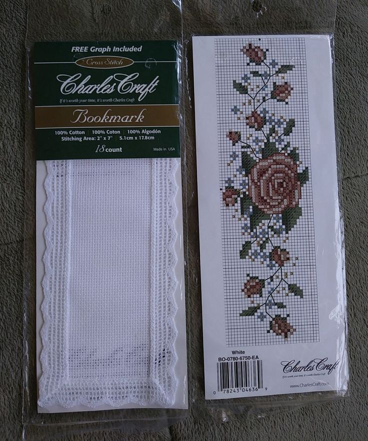 "2 Craft BO 0780-6750 Lace Edged Bookmark 18 Count 1.73 "" X  6.5""-White + 2"" x 7"" #CharlesCraft #Bookmark"