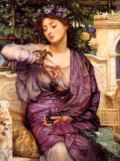 Sir Edward John Poynter P.R.A. Lesbia and her Sparrow. Poynter was one of four members of The Artists Rifles to be elected President of the Royal Academy.