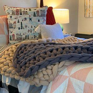 Riesige Decke Decke Decke Aus 100 Merinowolle Grobstrick