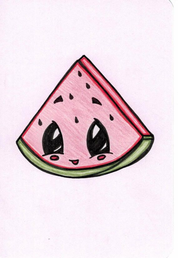 Cute Watermelon Slice Drawing Each Drawing Is Created To Order