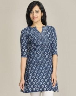 Cotton Printed A Line Silt Neck Mini Kurta