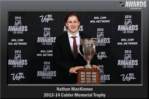 Nathan Mackinnon wins Calder Trophy at the Las Vegas NHL awards.