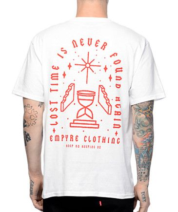 The Empyre Lost Times t-shirt reminds you to cease the day. The white  colorway features a red screen printed graphic of an hour glass filling up  with sand ...