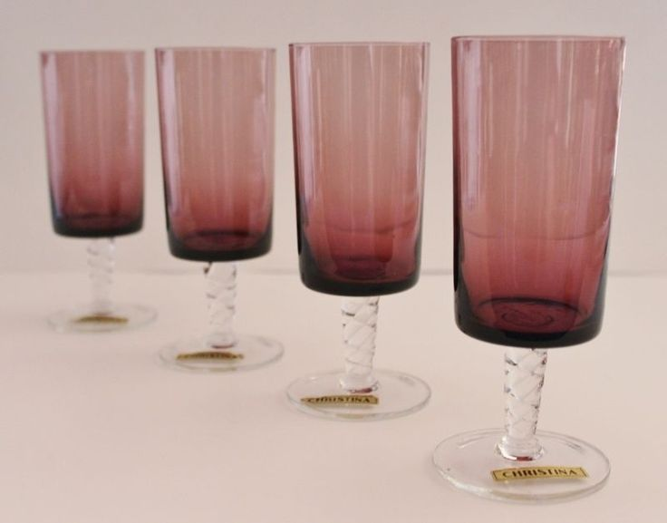 4 Swedish Retro Purple Amethyst Glass Wine Or Champagne Glasses By Christina  #CHRISTINA #CHAMPAGNEORWINEGLASSES