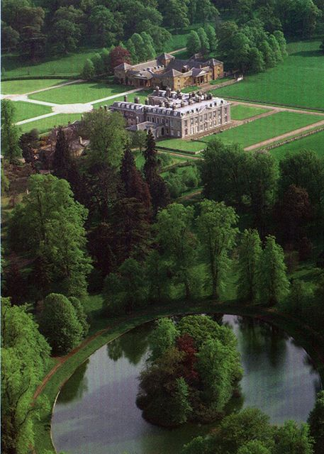 Althorp, Northhamptonshire, the home of the Spencer family for 500 years.  In total, the grounds of Althorp estate contain 28 listed buildings and structures.  In the foreground is the burial site of Princess Diana.