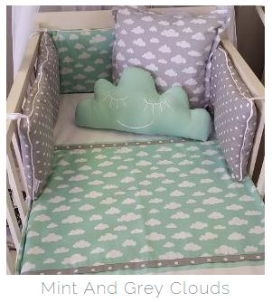 If you're looking for a something #Neutral, but with more colour, then our #Clouds in #GreyandMint is perfect for your nursery!  #BabyBedding #BabyLinen