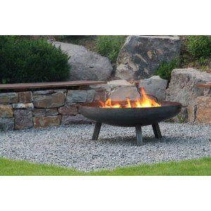 Feuerschale aus Stahl 790 mm / mit 3 Beinen und 2 Griffen + gratis Kaminholz: Amazon.de: Garten