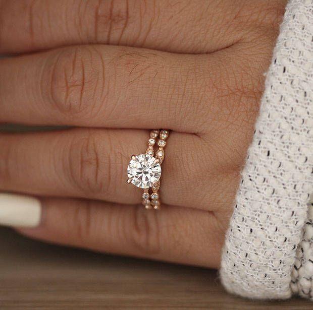 Wedding Ring Set, Moissanite Rose Gold Engagement Ring, Round 8mm Moissanite Ring, Diamond Milgrain Band, Solitaire Ring, Promise Ring by Tipsyweddings on Etsy