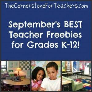 September's best teacher freebies--huge collection for all grade levels!  http://thecornerstoneforteachers.com/2012/09/septembers-best-teacher-freebies.html