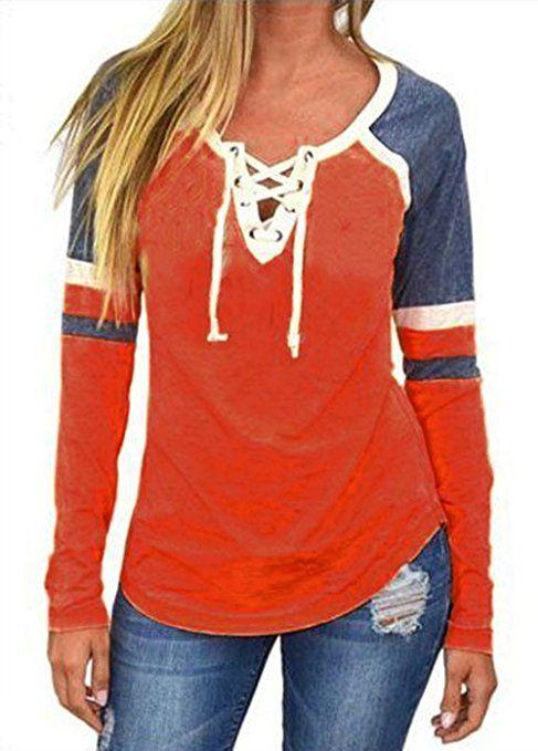 356a1937b Amzbeauty Lace up Blouse For Women Long Sleeve Color Block Casual Cute V Neck  T Shirt Top-Orange-M