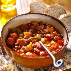 Spicy Pork Chili Recipe -This zippy chili is a pleasant change from the traditional beef chili recipes I've tried. It tastes so good served with your garden-fresh steamed green beans, sliced cucumbers and hot crusty bread. It's especially satisfying on a cold day. —Christine Hartry, Emo, Ontario