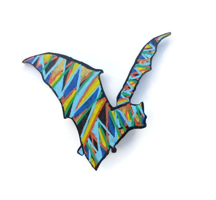 Bat Brooch, Hand Painted Brooch, Halloween Brooch, Halloween Jewelry, Bat Jewelry, Gothic Brooch, Animal Brooch, Bat Badge, Gift For Her by Larryware on Etsy