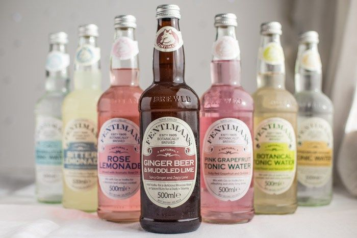 Bottles of Fentimans botanical mixers