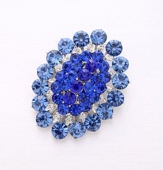 Rhinestone Blue Brooch Bridal Dress Sash Cake Bouquet Broaches DIY Jewelry Crafts Something Blue Oval Shape Royal Blue Brooches for Wedding