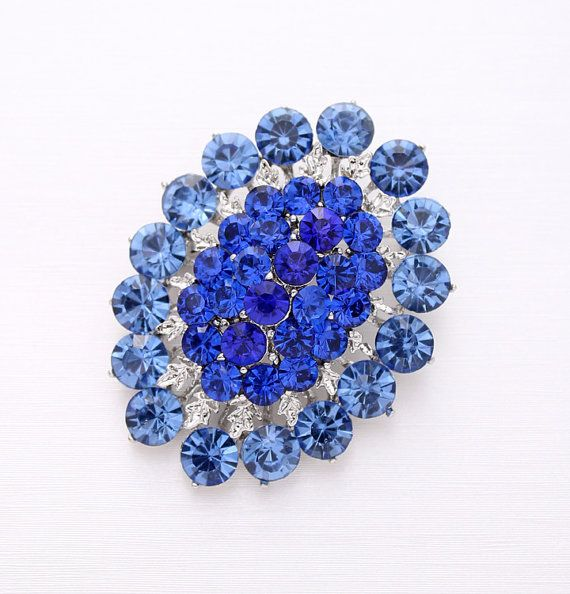 Rhinestone Blue Brooch Bridal Dress Sash Cake Bouquet Broaches DIY Jewelry Crafts Something Blue Oval Shape Royal Blue Brooches for Wedding