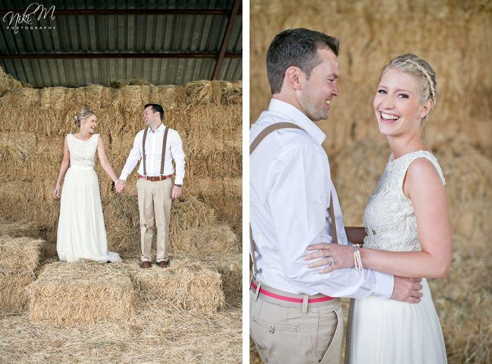Haybales used as a backdrop for a Karoo Farm Wedding. Niki M Photography