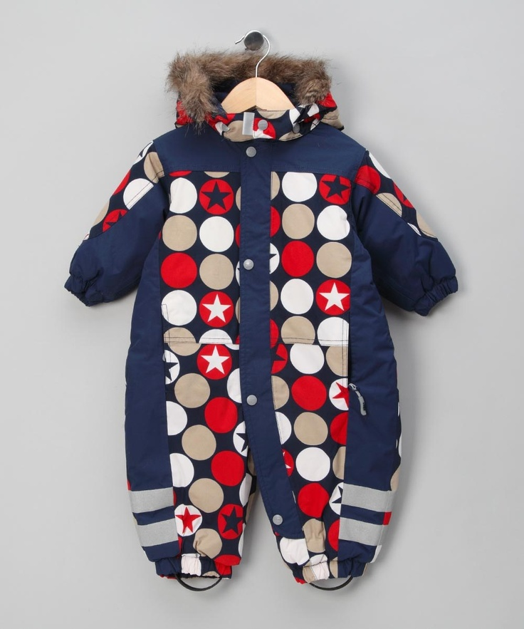 Navy Spotted Function Suit - Infant & Toddlers