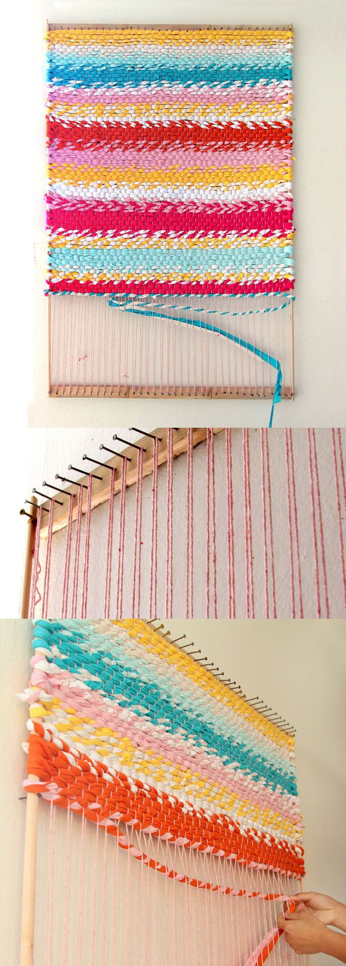 How to build a simple adjustable rug loom and weave a beautiful t-shirt rug or other up-cycled fabric rugs. Detailed tutorial and step by step photos!  - A Piece Of Rainbow http://www.apieceofrainbow.com/weave-t-shirt-rug-diy-loom/