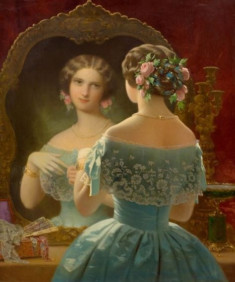 Artist Unknown (French School), 19th Century A Young Lady at Her Toilette oil on canvas  100.5 x 81 cm  MutualArt.com