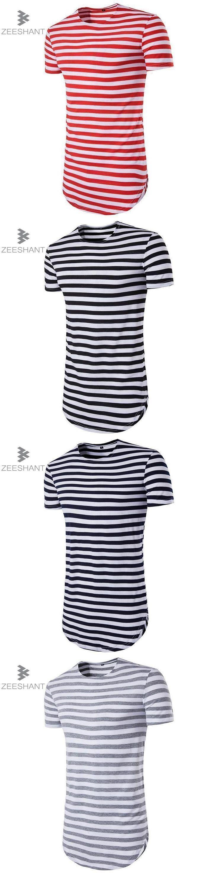 ZEESHANT Streetwear Men t shirt extended longline hipster t shirt men stripes t shirt Homme Long Line Striped T shirt Homme #menst-shirtshipster #menshirts