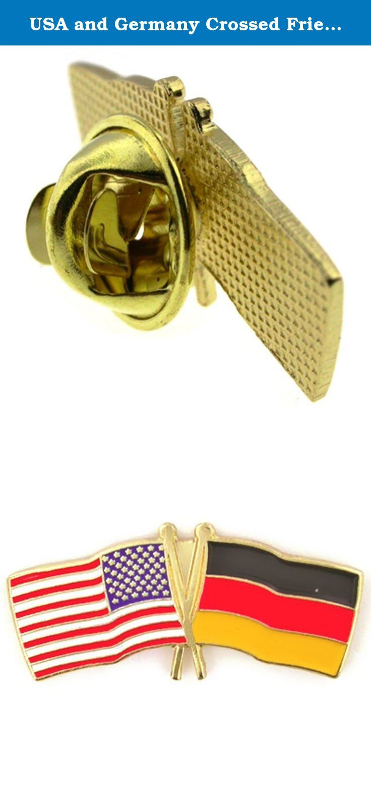 """USA and Germany Crossed Friendship Flag Lapel Pin. USA and Germany Crossed Flag Lapel Pin. Sometimes referred to as a friendship flag. This pin features the American Flag and German flag crossed in a symbolic and traditional method. This pin is made from die struck metal with gold plating and enamel color fills. Measures 1 1/8""""W x 1/2''H. Each pin includes a clutch back and is individually poly bagged."""