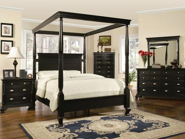 Black Wooden Canopy Bedroom Sets For White Bedding Sets In Stylish Room