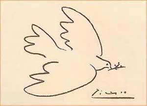 Sinds Picasso brengt de grafische kunst een eindeloze reeks vredesduiven in alle denkbare gedaanten. De duif verkleedt als bommenwerper, de duif met de kop van een havik. De duif fladdert op een zoetige tekening uit communistisch China en op een rauwe beeldcollage uit Turkije, de duif zit vredig te zitten op een Palestijnse halsdoek of verschuilt zich in de hand van strijdlustig ogende jongeren uit het voormalig oostblok. De duif hoort onlosmakelijk bij oorlog, van welk type dan ook.
