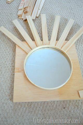 how to make DIY sunburst mirror
