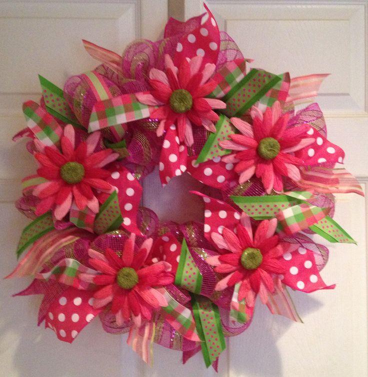 Spring Summer deco mesh wreath pink green plaid stripes FUN!
