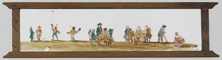 Anonymous | Verschillende spellen, Anonymous, 1750 - 1830 | Glasplaat in houten vatting. Panorama van verschillende spellen. Links is een vrouw met roze jurk gehurkt, rechts naast haar staat een man met een pijp in zijn mond en een stok in zijn linkerhand. Daarnaast staat een tafel met twee dames en twee heren die aan het kaarten zijn. Daar weer naast staat nog een tafel, met twee heren die een bordspel aan het doen zijn. Een man kijkt staand toe. Daar naast twee jongens die aan het…