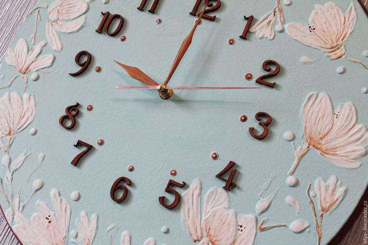 Купить Часы Королевская магнолия - мятный, часы, большие часы, рельефные часы, мятные часы