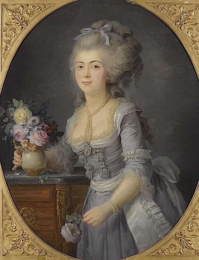 Adélaïde Genet, Madame Auguié, sister of Madame Campan and one of the last femme des chambre of Marie Antoinette by Anne Vallayer-Coster, 1781 (probable exhibit date). Faithful to the imprisoned Queen, and facing arrest and execution herself, Adélaïde committed suicide.