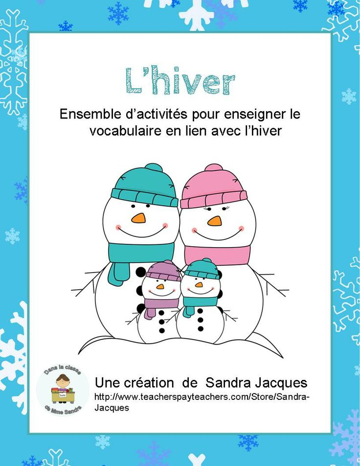 Cet ensemble comprend le nécessaire pour enseigner le vocabulaire en lien avec l'hiver.  This packet includes all the necessary material to teach French Winter vocabulary. It can be used in French immersion or French as a second language classes.