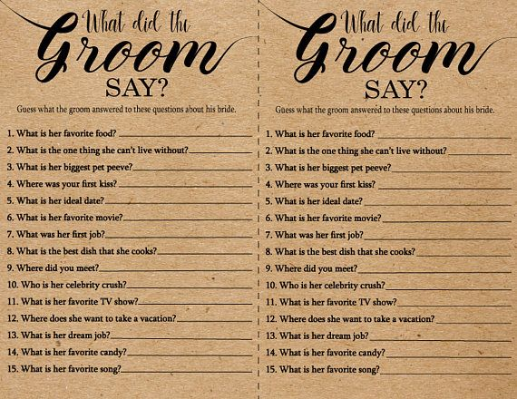 What Did the Groom Say About His Bride Game . Printable Instant Download Bridal Shower Games .Rustic, Kraft, Funny, Fun, Bridal Shower Games – Mahalia Cameron