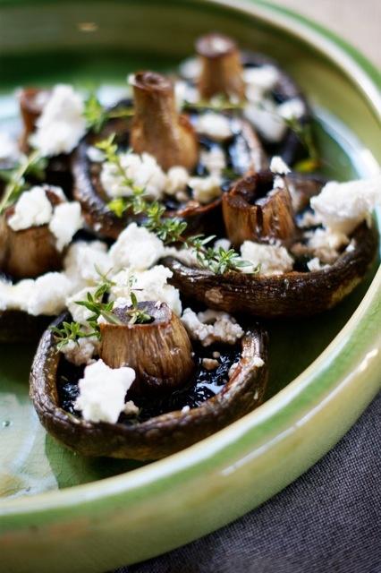 roast mushromms with thyme & feta    www.learntocook.com.au
