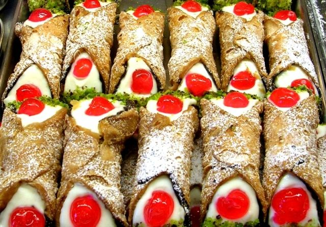 You will find sicilian cannoli in the best bars http://www.dreamsicilyvillas.com/guide/sicily-gastronomy/