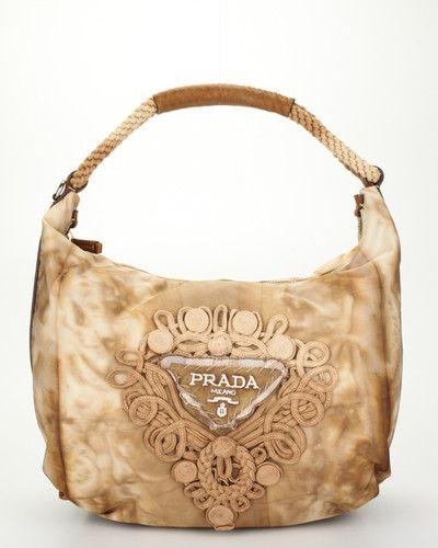 PRADA Beige Tan Nylon Tie Dye Rope Strap Shoulder Bag Handbag ...