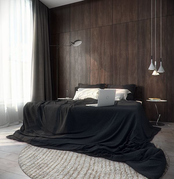 a change from black walls - choose black bedding with neutrals and timber...