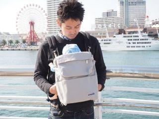 【完成品】pomochi simple(抱っこひもリュック)倉敷帆布グレー